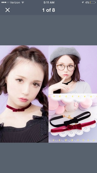 jewels necklace bow bows kawaii cute girl girly red blue