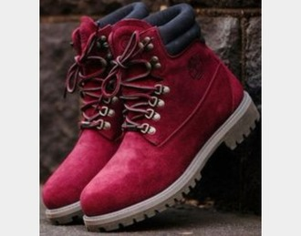 shoes burgundy timberland boots shoes maroon/burgundy