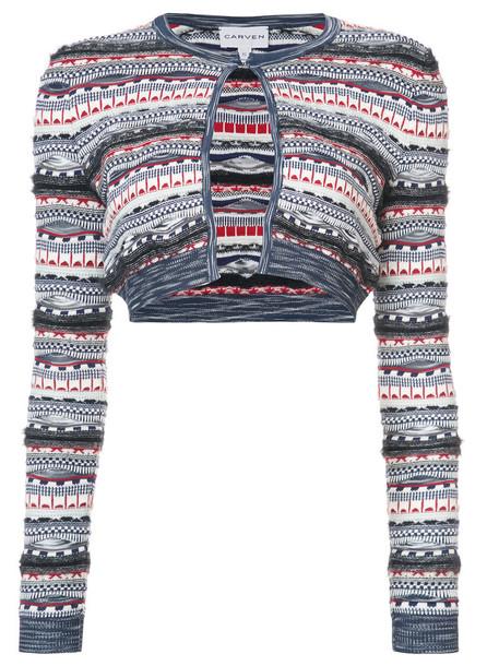 Carven cardigan cardigan cropped women cotton knit sweater