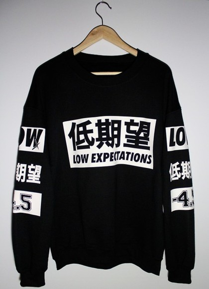 low sweater low expectations black white crewneck unisex pullover
