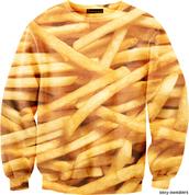 sweater,fries,sweatshirt,print