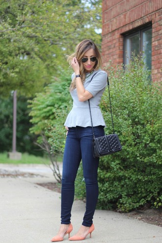 lilly's style blogger top jeans shoes bag jewels sunglasses peplum top
