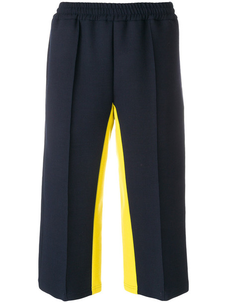 MSGM pants track pants pleated cropped women spandex blue wool