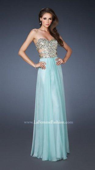 Long Seafoam Sequin Stone Embellished Cutout La Femme 18602 Dress [La Femme 18602 seafoam] - $178.00 : Prom Dresses 2014 Sale, 70% off Dresses for Prom