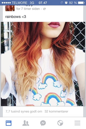 rainbow rainbow shirt le happy white t-shirt cute top rainbows
