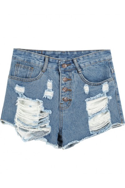 KCLOTH Blue High Waist Ripped Denim Shorts