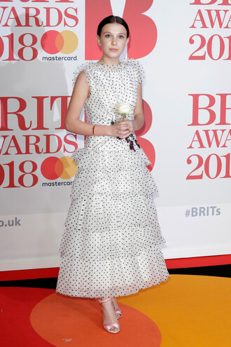 dress tulle dress millie bobby brown brit awards polka dots sandals red carpet dress shoes