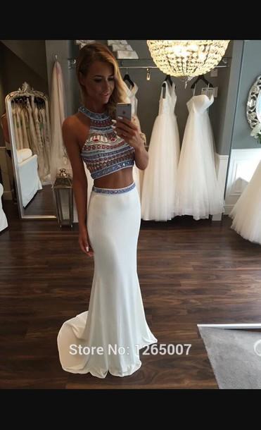dress white dress prom dress dazzling pretty girl girly girly wishlist prom two-piece two piece dress set