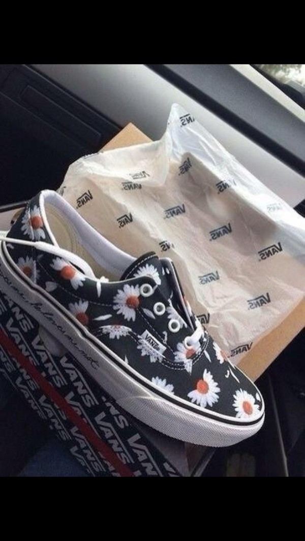 shoes vans black and white daisy vans of the wall floral fashion flowers flowers pattern #flowers black romper party short aztec navy heels cute hand bag print vintage