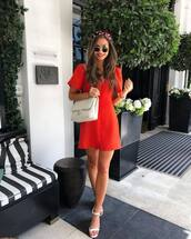 dress,red dress,sandals,v neck dress,sunglasses,bag