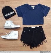shorts,hat,t-shirt,shoes,top,crop,crop tops,short,blue,shirt,cute shorts,beenie,converse,whatever,blue shirt,black shorts,black,beanie,all of this outfit,blouse,black beanie,skirt,blak shorts,black pants,denim shorts,frayed denim