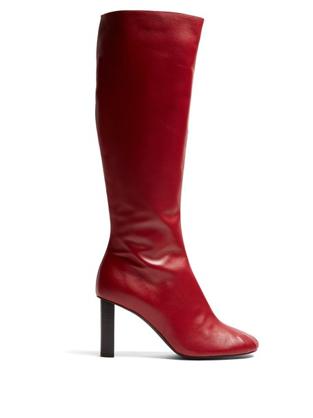 Joseph heel knee-high boots high leather red shoes