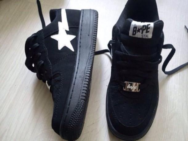 shoes, black, bape, white, nice
