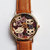 Cats on Floral Bouquet Watch, Rose Gold Vintage Style Leather Watch, Women Watches, Boyfriend Watch, Kitty Watch