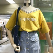 top,yellow,white,stripes,red,t-shirt,old school,90s style