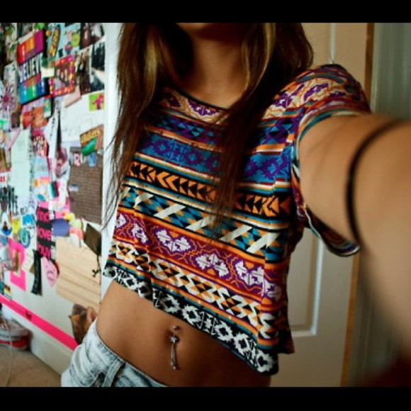 multicolor t-shirt t-shirt aztèque Swag shirt aztec colorful crop tops blue green orange purple black white yellow shorts