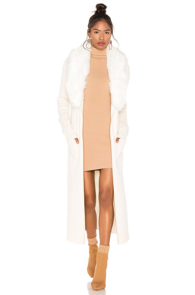 Show Me Your Mumu Lombardi Faux Fur Long Cardigan in ivory