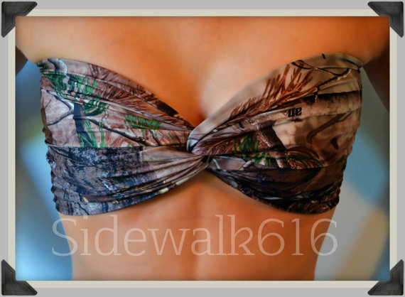 Camo Bandeau Top Spandex Bandeau Bikini Swimsuit by Sidewalk616