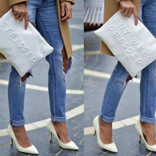 Zara Stressed But Well Dressed Clutch Bag BNWT Sale Tiny Imperfection | eBay