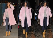 rihanna,fall outfits,jeans,pink coat