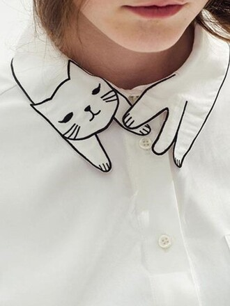 blouse cats cute white kawaii trendy fashion adorable outfit collar lovely beautifulhalo