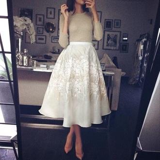 skirt girly cute pretty girl fashion style cream beautiful