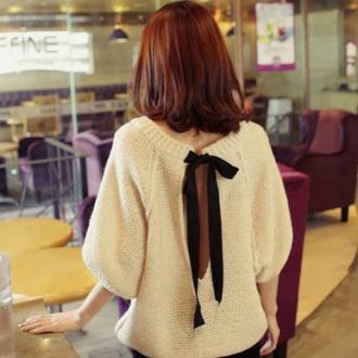 sweater backless ribbon backless sweater