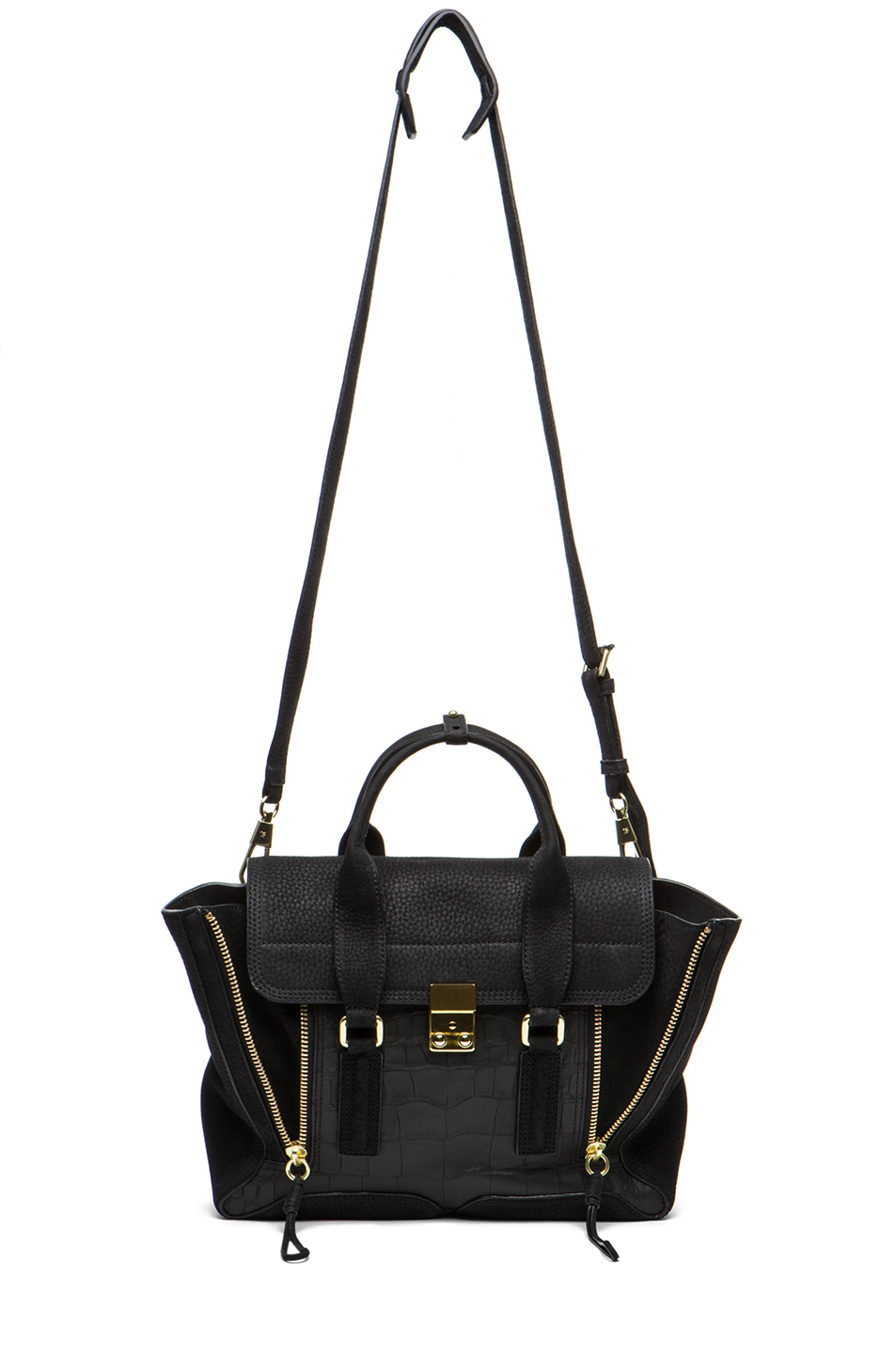 3.1 phillip lim|Pashli Medium Satchel in Black Croc