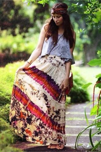 skirt red dress red skirt cream white skirt boho dress boho pattern boho boho chic gypsy maxi dress maxi skirt maxi vintage