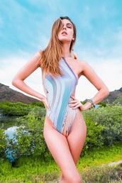 swimwear,revel rey,one piece,one piece swimsuit,open back,print,orange,purple,blue,white,cheeky