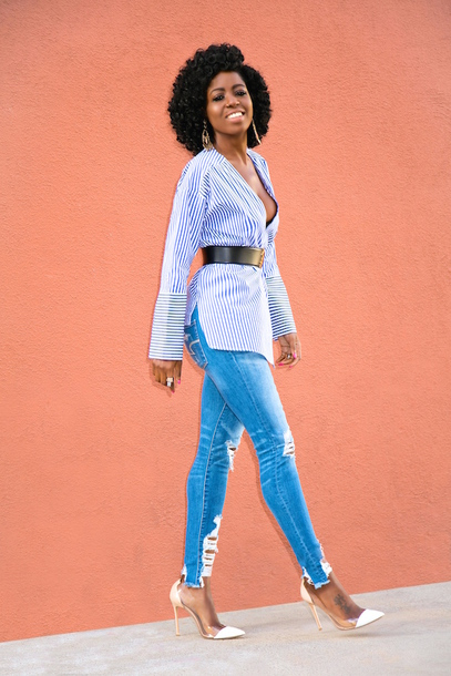 blogger blouse jeans belt shoes