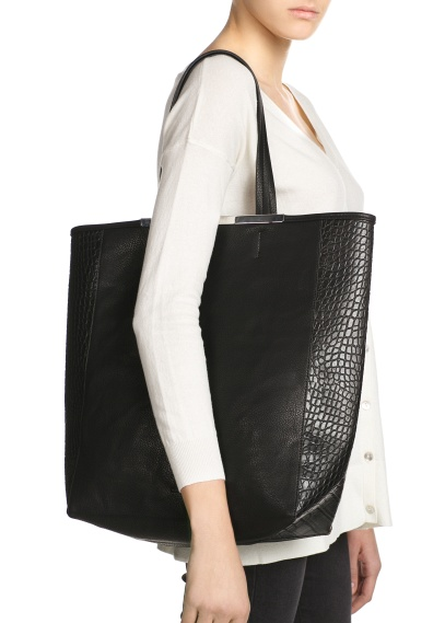 MANGO - Accessories - BAGS - Croc-effect side shopper bag
