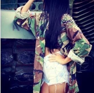 jacket vintage camouflage jacket camouflage spikes fashion