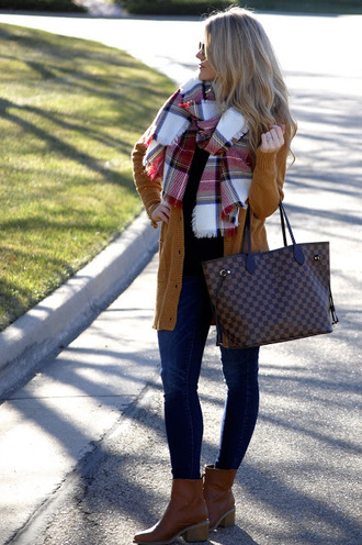 polishedandpink blogger top sweater jeans scarf shoes bag sunglasses jewels fall outfits tartan scarf handbag louis vuitton bag ankle boots skinny jeans