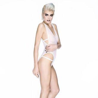 underwear lingerie white body bodysuit style women girl hot bra bralette sexy top white lingerie festival cheeky clothes fashion outfit swimwear undies