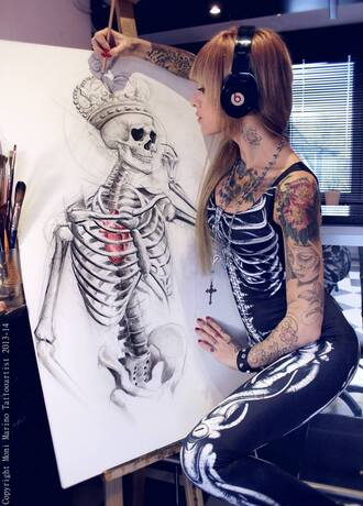 tank top clothes bodysuit skeleton goth tattoo jumpsuit halloween sexy leggings black beats monimarino halloween costume spandex