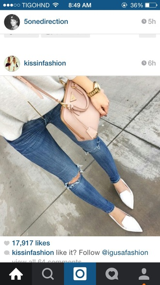 jeans blue jean long pants ripped jeans bag