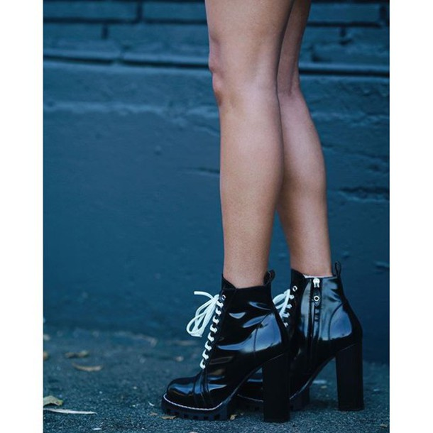 8f2d009937fa shoes tumblr black boots boots ankle boots thick heel block heels lace up  boots platform lace