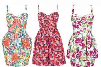 dress pretty cute floral peplum pockets pink green white red yellow straps