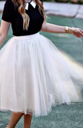 skirt tule white mesh