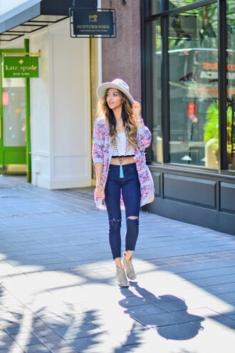 cuppajyo blogger hat ripped jeans knitted cardigan tassel suede boots white crop tops