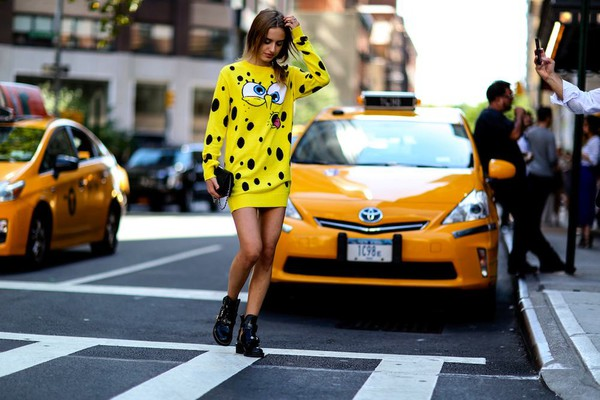 dress streetstyle fashion week 2014 spongebob