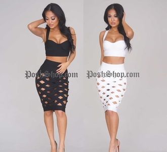 skirt black and white crop black pencil skirt white pencil skirt crop tops black crop top white crop tops bustier crop top pencil skirt
