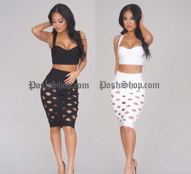 skirt black and white crop black pencil skirt white