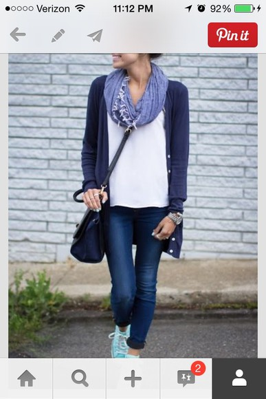 shirt scarf jeans jacket navy blue