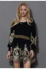 Baroque Golden Embroidery Sleeves Top - Retro, Indie and Unique Fashion
