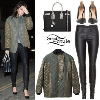 jacket coat jeans heels kendall jenner shoes olive green army green jacket texture
