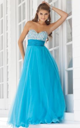 Tulle A-line Strapless Sweetheart Long Lace up Prom Dress Online|KissyDress UK