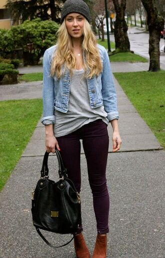 pants jean jacket denim jacket gray shirt gray shirt purple maroon maroon pants designer bag designer bag