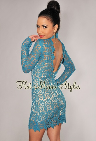 Teal Lace Nude Illusion Key-Hole Back Long Sleeves Dress